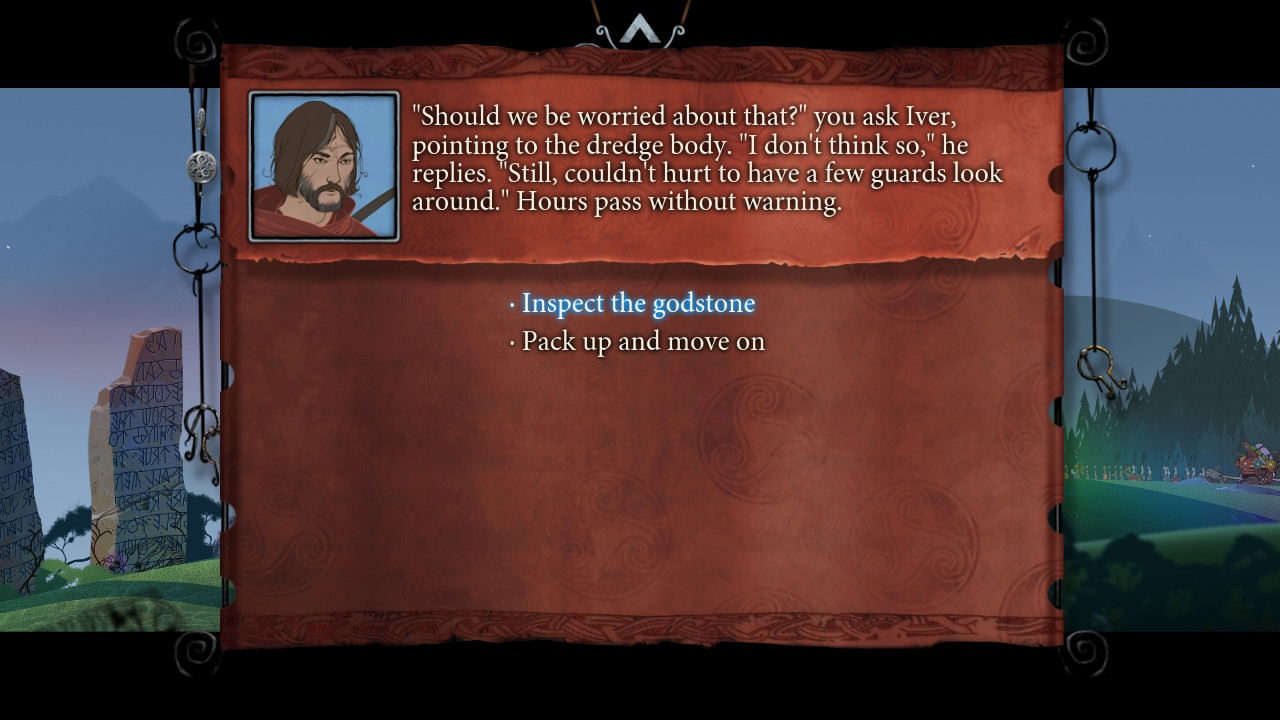 Text menu giving the player a choice to make