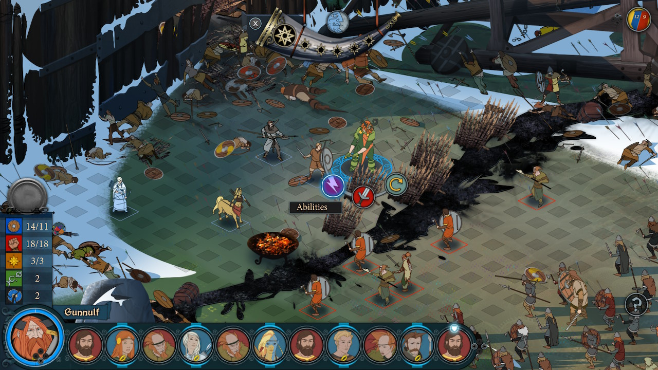 Player units face off against enemy units in grid-based combat
