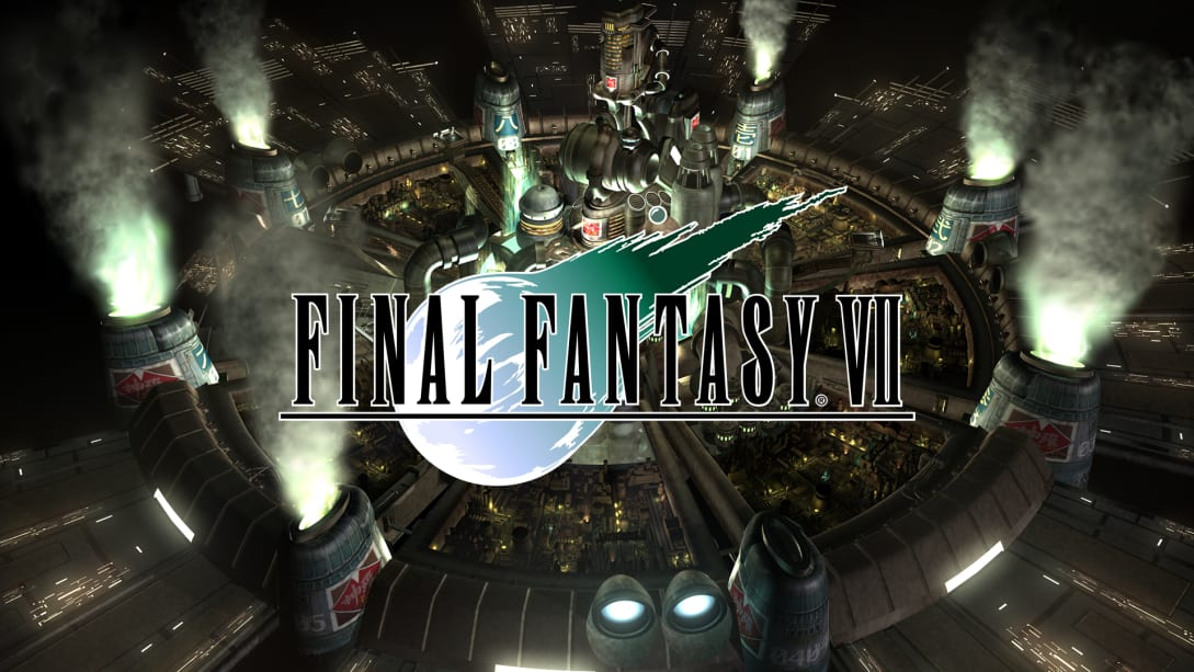 Final Fantasy 7 logo overlaying an aerial view of Midgar